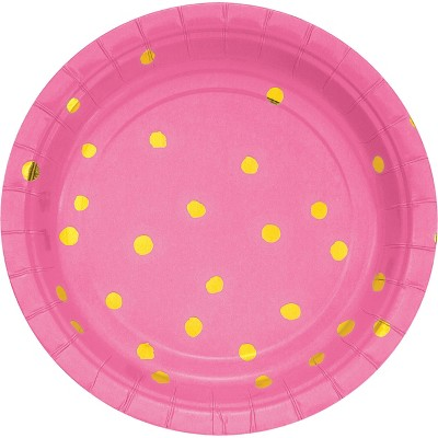 "Candy Pink and Gold Foil Dot 7"" Dessert Plates - 8ct"
