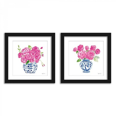 Americanflat Roses On White - Set of 2 Framed Prints by Wild Apple