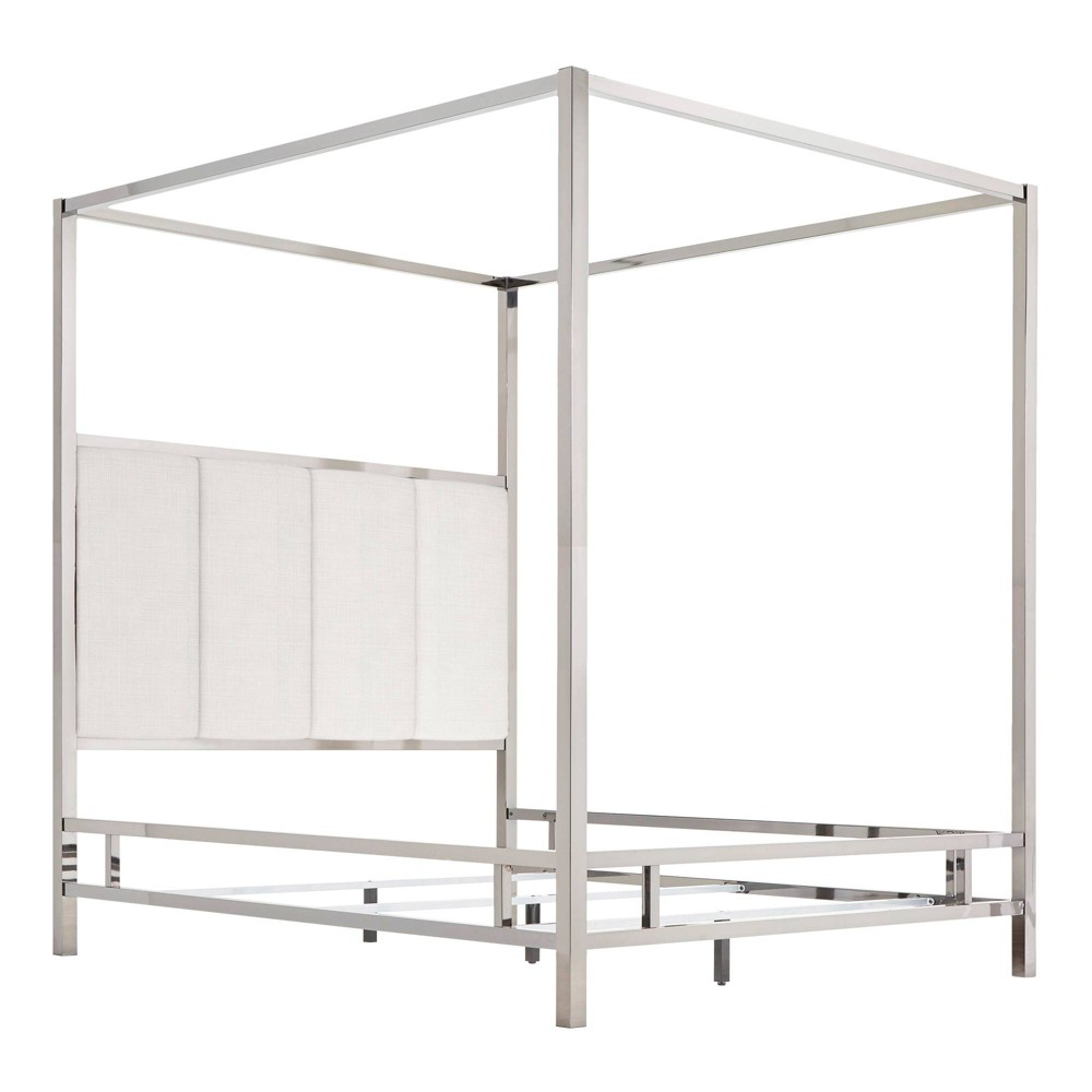 Full Manhattan Canopy Bed with Vertical Panel Headboard White - Inspire Q