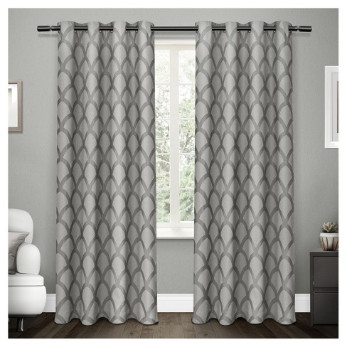 Electra Scalloped Heavyweight Jacquard Linen With Woven Blackout Liner Grommet Top Window Curtain Panel Pair Exclusive Home