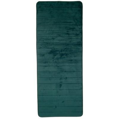 Stripe Memory Foam Striped Extra Long Bath Mat Green - Yorkshire Home