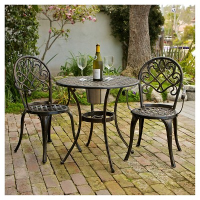 Angeles 3pc Cast Aluminum Bistro Set - Copper - Christopher Knight Home