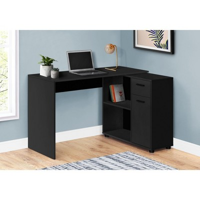 "Monarch Specialties Workstation with Storage Shelves and Cabinet for Home & Office-Contemporary Style L Shaped Computer Desk, 46"" L"
