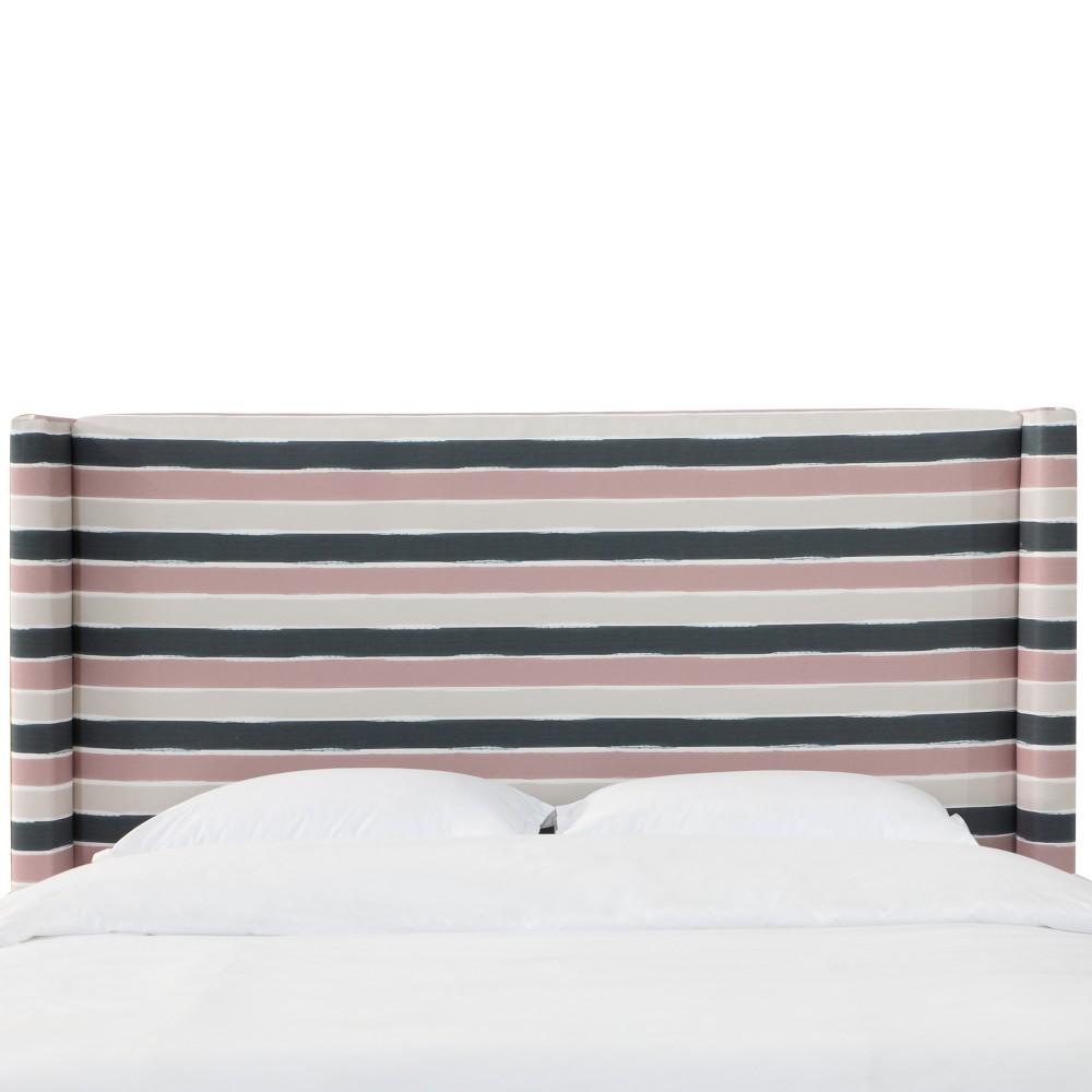 Sonny Wingback Headboard - Queen - Watercolor Cabana Pink Teal - Cloth & Co.