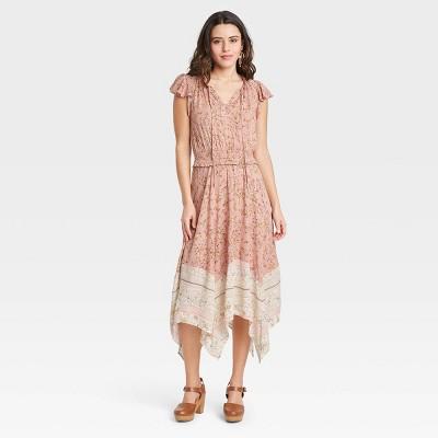 Women's Floral Print Flutter Short Sleeve Smocked Waist Dress - Knox Rose™