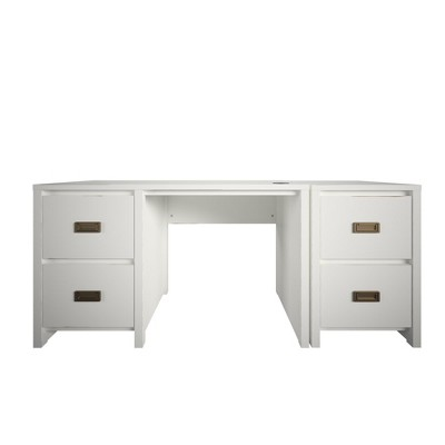 Monarch Hill Haven Single Pedestal Desk and Nightstand Bundle, White