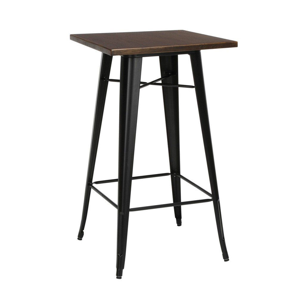 "Image of ""24"""" Modern Square Bar Table with Galvanized Steel Body and Footring Black/Walnut - OFM, Black/Brown"""