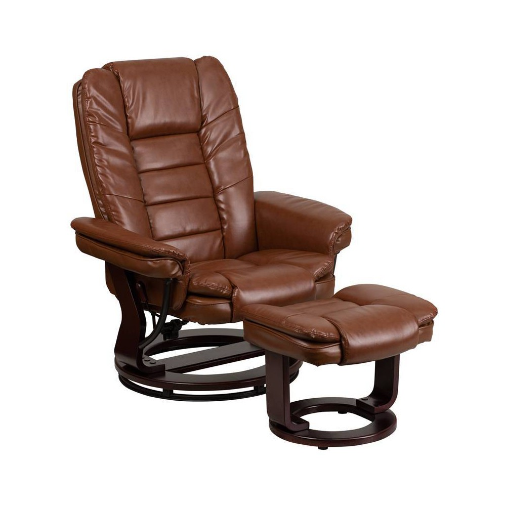 Image of 2pc Vintage Recliner and Ottoman Set Brown - Flash Furniture