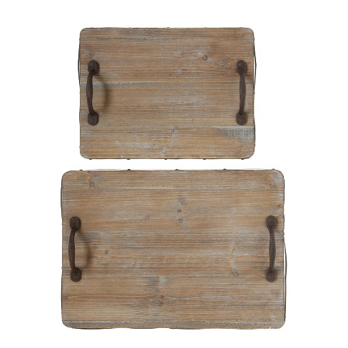 Decorative Wood Tray with Cast Iron Handles - Set of 2 - 3R Studios - image 1 of 3