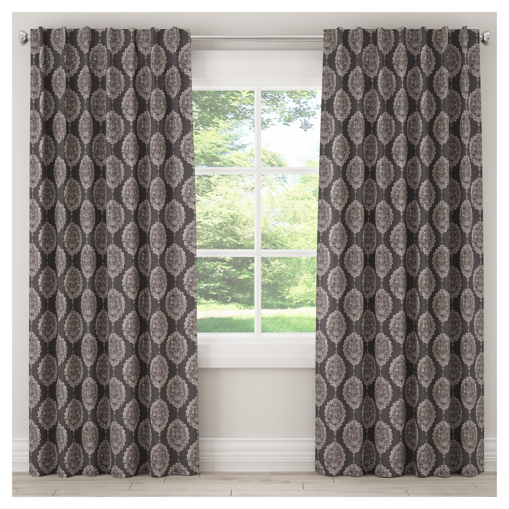 Unlined Damask Curtain Panel Black (50