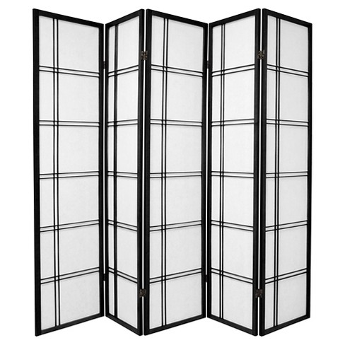 6 ft. Tall Double Cross Shoji Screen - Black (5 Panels) - image 1 of 1