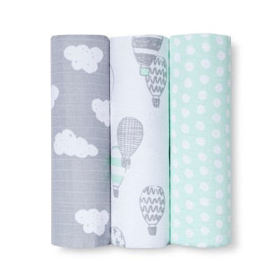 Muslin Blankets In the Clouds 3pk - Cloud Island™ Joyful Mint