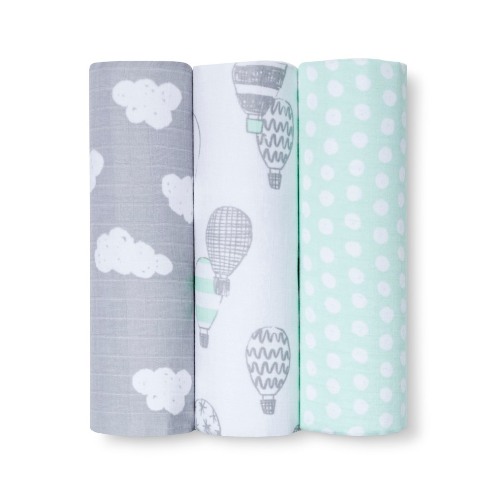Muslin Blankets In the Clouds 3pk - Cloud Island Joyful Mint