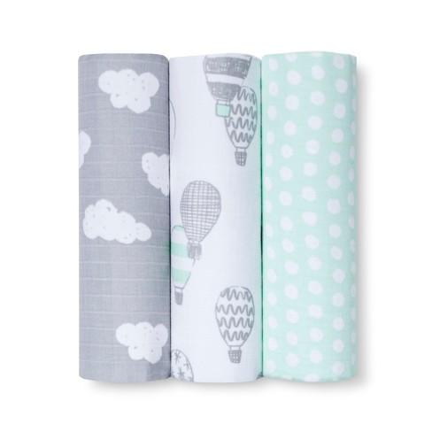Muslin Blankets In the Clouds 3pk - Cloud Island™ Joyful Mint - image 1 of 2