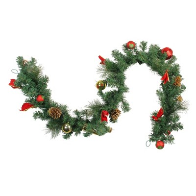 """Northlight 6' x 10"""" Unlit Red/Gold Ball Ornaments and Bows Artificial Christmas Garland"""