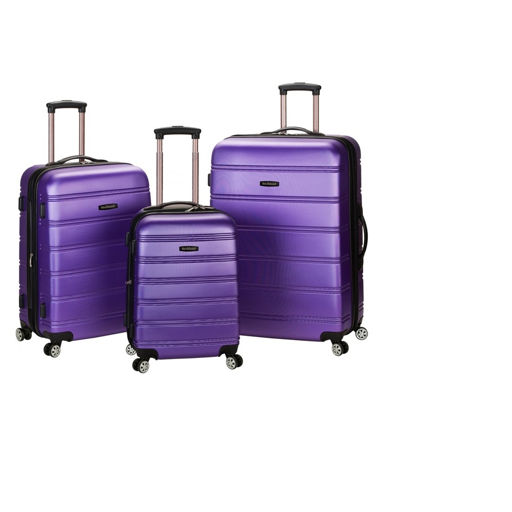 Rockland Melbourne 3pc Expandable Abs Spinner Luggage Set Purple