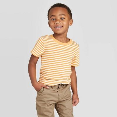 Toddler Boys' Short Sleeve Crew Stripe T-Shirt - Cat & Jack™ Yellow 12M