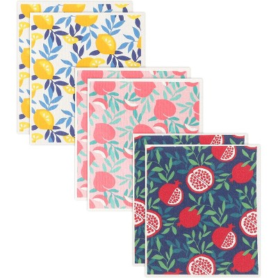 "Juvale 6 Pack Swedish Dishcloth Set, Fruit Colorful Kitchen Dish Towel 8""x7"""