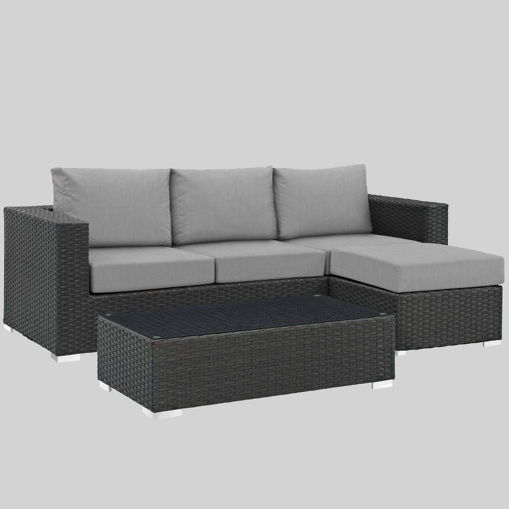 Sojourn 3pc Outdoor Patio Sectional Set with Sunbrella Fabric - Gray - Modway