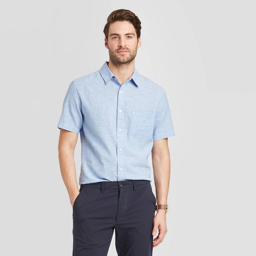 Men's Standard Fit Short Sleeve Linen Shirt - Goodfellow & Co Blue M was $19.99 now $12.0 (40.0% off)