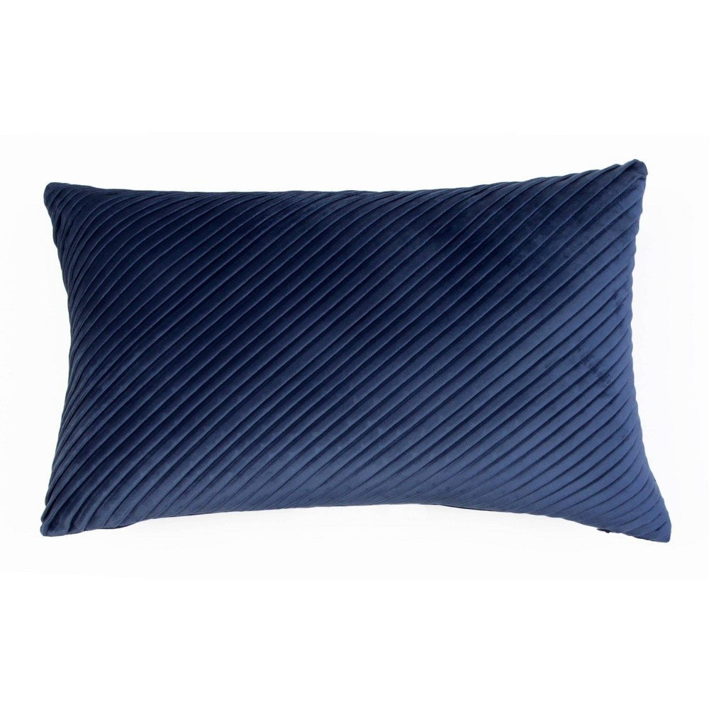 """Image of """"14""""""""x20"""""""" Davidson Pleated Velvet Pillow Blue - Décor Therapy"""""""