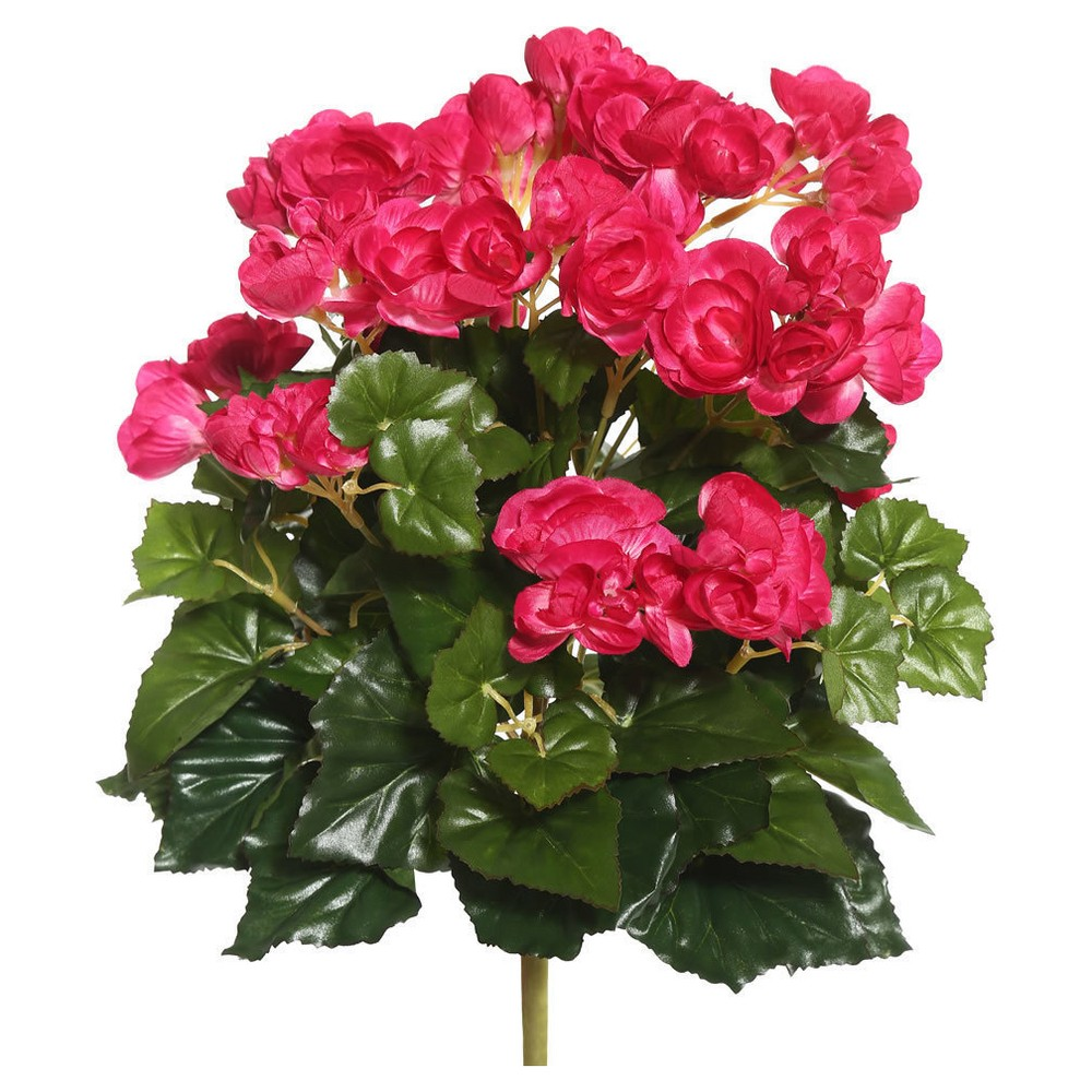 Artificial Begonia Bush (15.25) Hot Pink - Vickerman