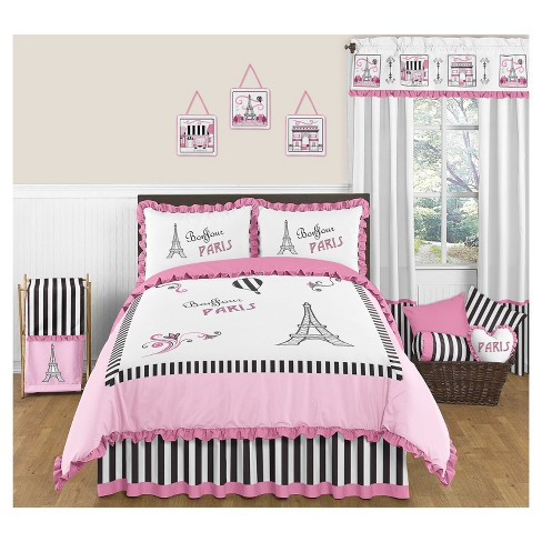 Pink & Black Paris Comforter Set (Full/Queen) - Sweet Jojo Designs - image 1 of 3