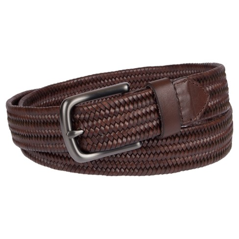 Men S 35mm Stretch Leather Braided Belt Goodfellow Co Brown