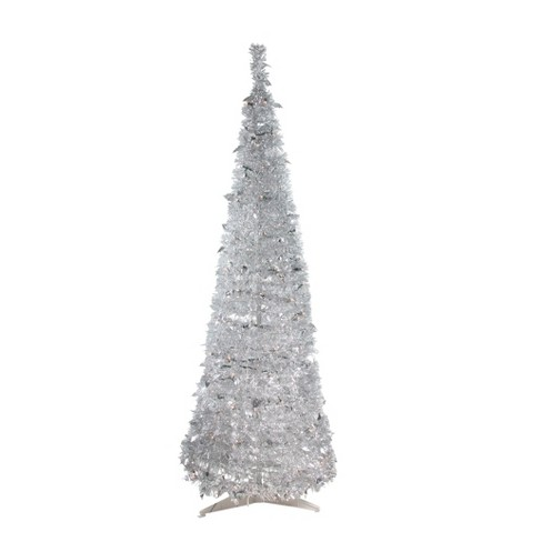 Northlight 6 Prelit Artificial Christmas Tree Silver Tinsel Pop Up
