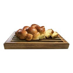 Kalmar Home 441 3 in 1 Acacia Wood Tray, Trivet, and Bread Crumb Catcher, Brown
