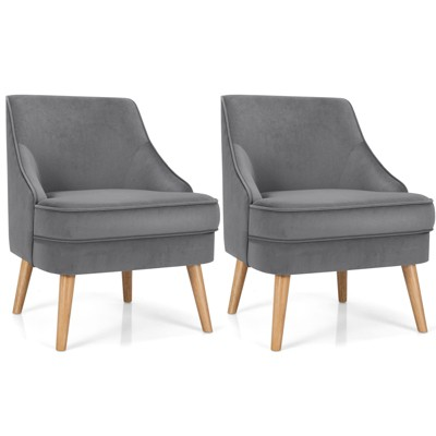 Costway Set of 2 Accent Chairs Velvet Single Sofa Chair w/Rubber Wood Legs Pink\Green\Grey