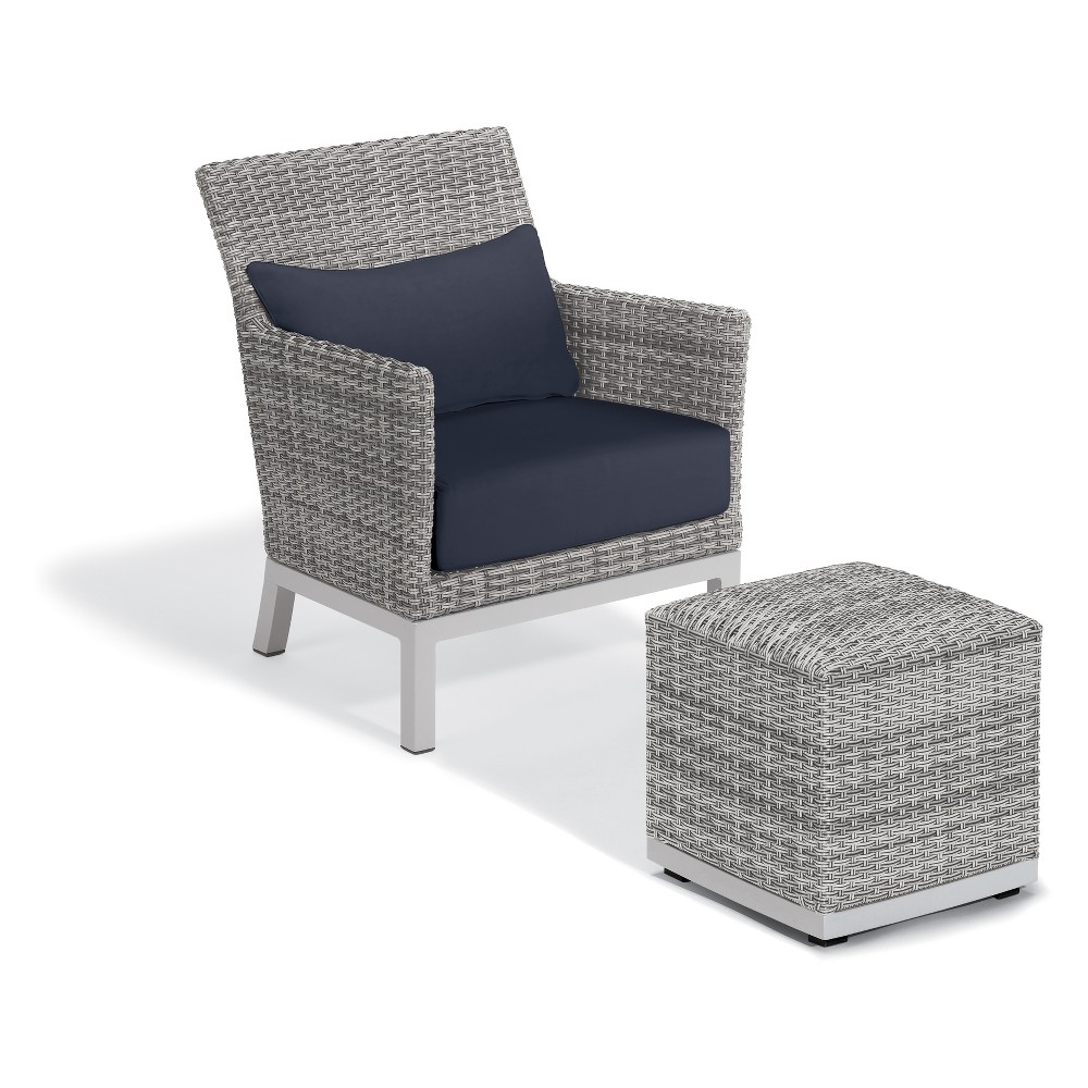 2pc Argento Club Chair with Lumbar Cushion and Pouf with Powder-Coated Aluminum Frame and Resin Wicker Midnight Blue - Oxford Garden