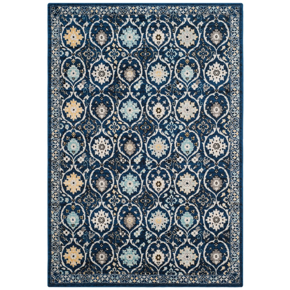 6'7X9' Floral Loomed Area Rug Dark Blue/Ivory - Safavieh