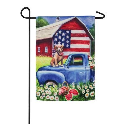 Evergreen Flag Patriotic Pup Garden Suede Flag