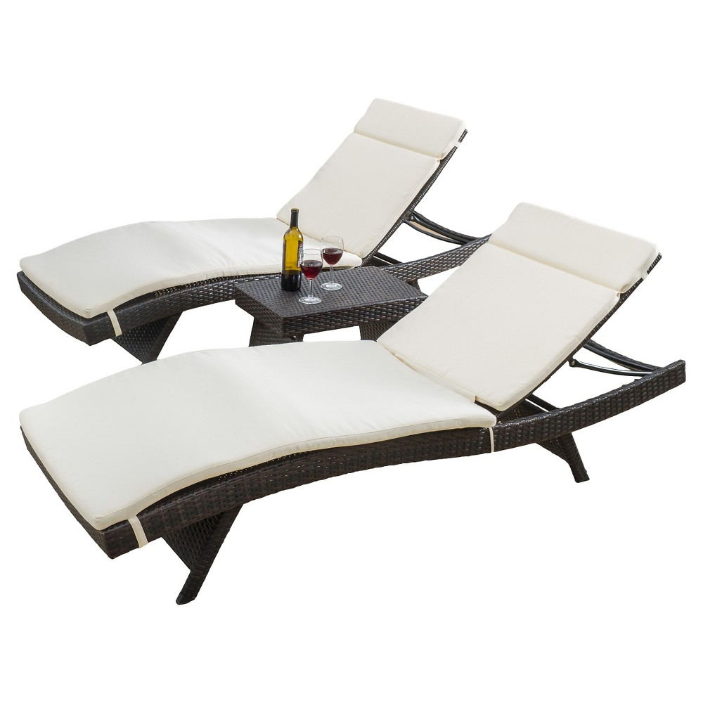 Luana 3pc Wicker Patio Adjustable Chaise Lounge Set with ...