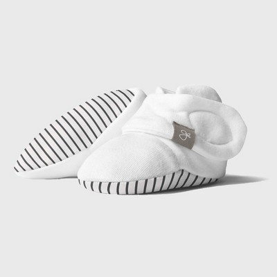 Goumi Baby Organic Cotton Striped Booties - Gray 0-3M