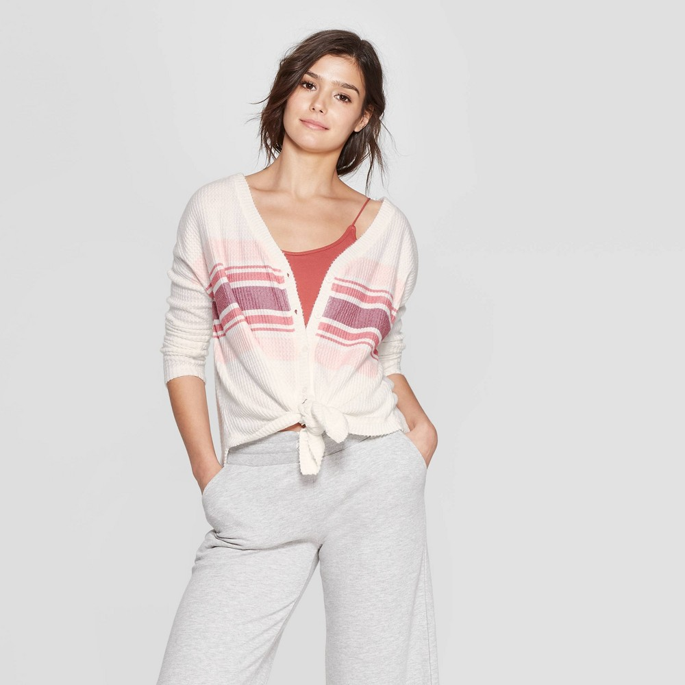 Women's Long Sleeve Waffle Button-Up Lounge Sweatshirt - Colsie White XL
