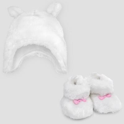Baby Girls' Bear Hat & Bootie Set - Cloud Island™ White 0-6M