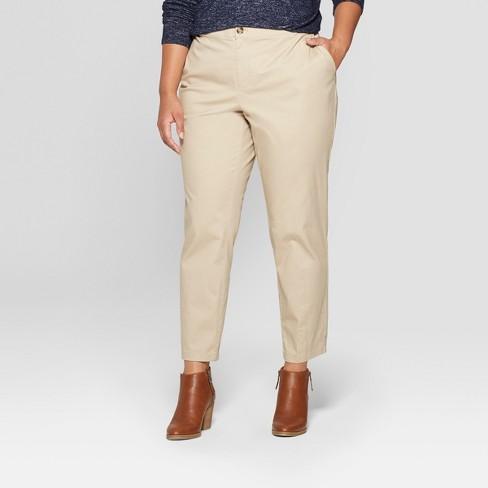 df47a6c2aeb Women s Plus Size Chino Pants - Ava   Viv™ Khaki 24W   Target