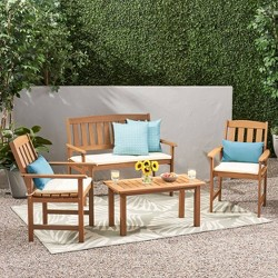 Belize Meranti 4pc Chat Set with Cushions - Cream and Honey Oak - Christopher Knight Home