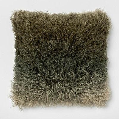 Ombre Mongolian Faux Fur Square Throw Pillow Green - Project 62™