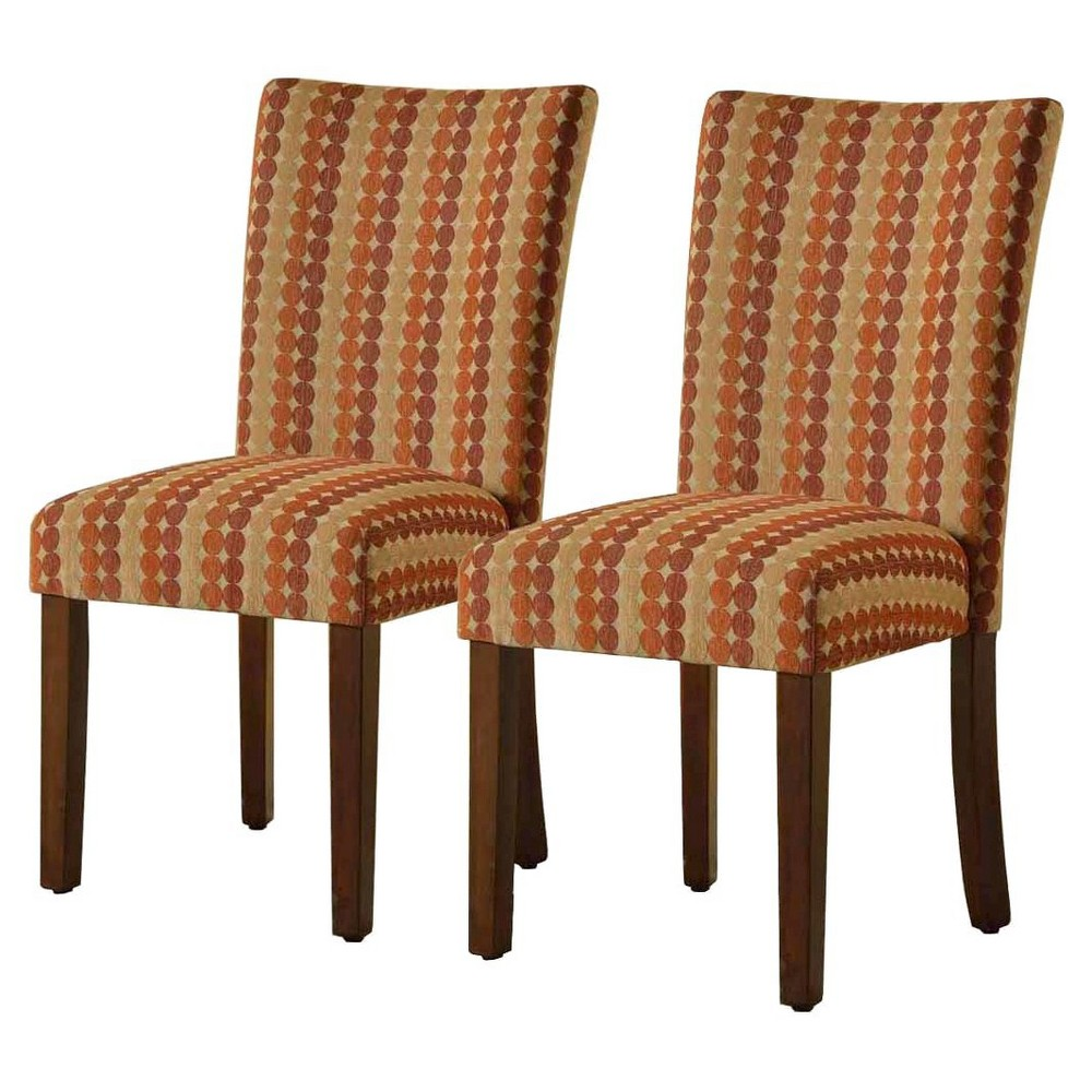 Parsons Pattern Dining Chair Wood (Set of 2) - HomePop, Red Stripe