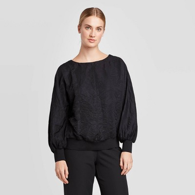 Women's Textured Blouson Long Sleeve Crewneck Blouse - Prologue™ Black
