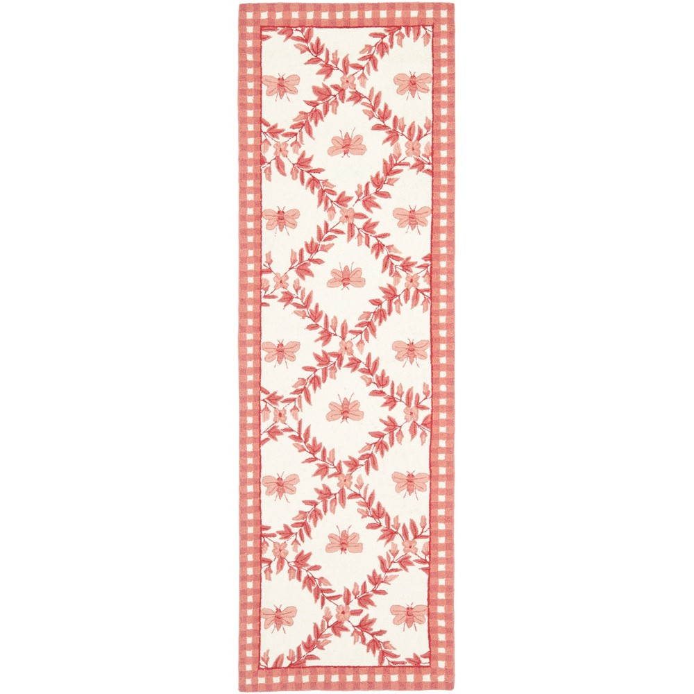 2'6X12' Bee Hooked Runner Ivory/Rose (Ivory/Pink) - Safavieh