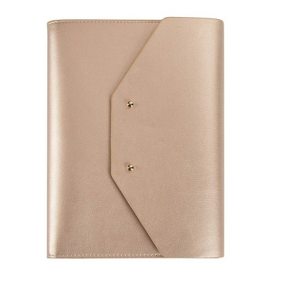 PU Leather Cover Journal, A5 Sized, with Refillable Lined Notebook, Card Slots, Pen Holder & Pocket, Gold
