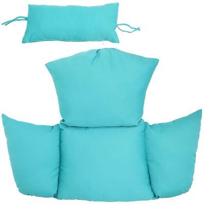 2pc Outdoor Replacement Egg Chair Cushion Set - Blue - Sunnydaze Decor