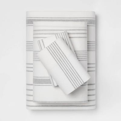 Queen Printed Pattern Flannel Sheet Set Gray Stripe - Threshold™
