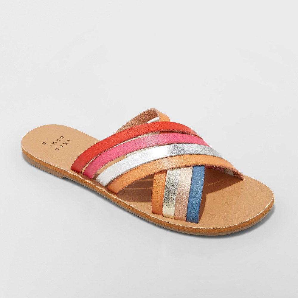 Women's Laila Multi Colored Strappy Slide Sandal - A New Day Tan 8.5