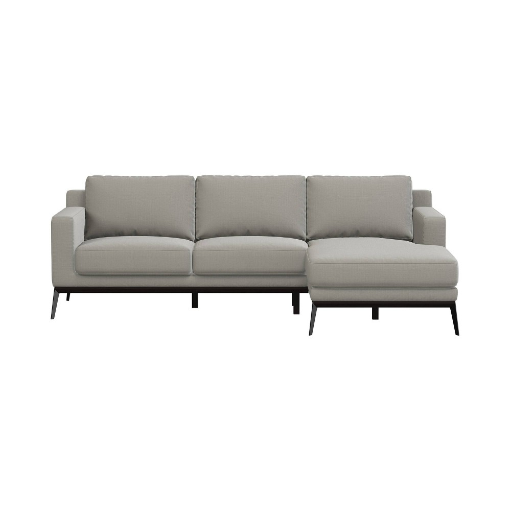 Setoril Modern Sectional Sofa With Chaise Woven Linen Taupe Gray Handy Living