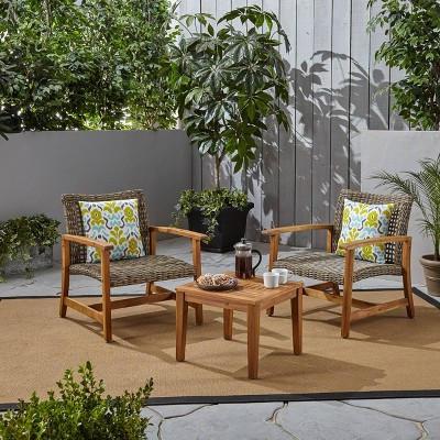 3pc Hampton Wood and Wicker Patio Set - Christopher Knight Home